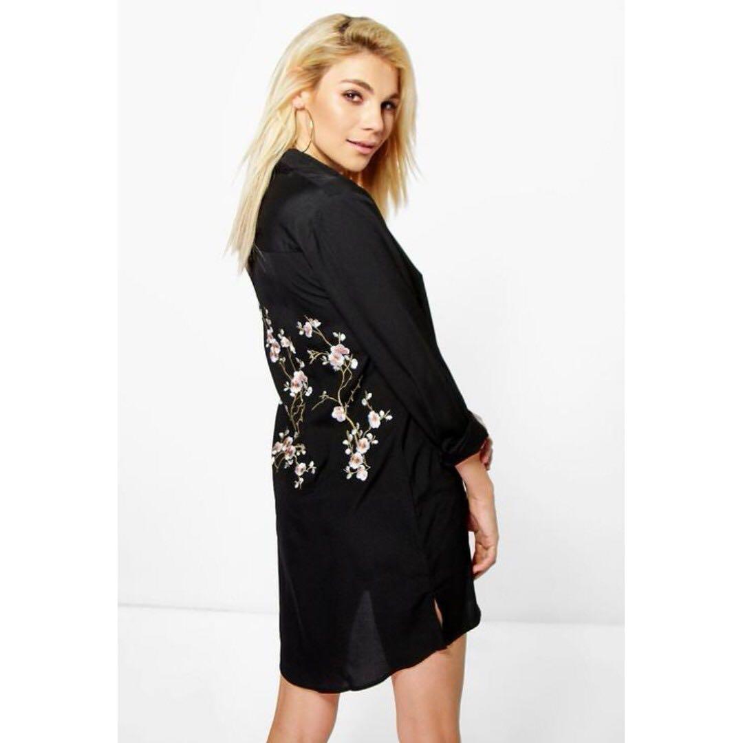 4832a2519138 ASOS BooHoo Jourdan Embroidered Back Shirt Dress, Women's Fashion ...