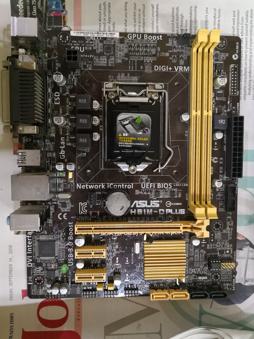 Asus H81m D Plus Micro Atx Matx Motherboard For Lga 1150 Cpu 4th Mobo H61 Socket 1155 I3 I5 I7 Gygabite Gen Lower From 60 Already Electronics Computer Parts Accessories On Carousell