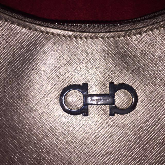 Authentic Salvatore Ferragamo Pebbled Calf Leather Romana Hobo Bag