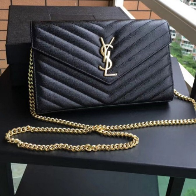 638c9fb5aaa0 Authentic YSL (Large) Wallet on Chain Caviar Leather Sling Bag Ghw ...