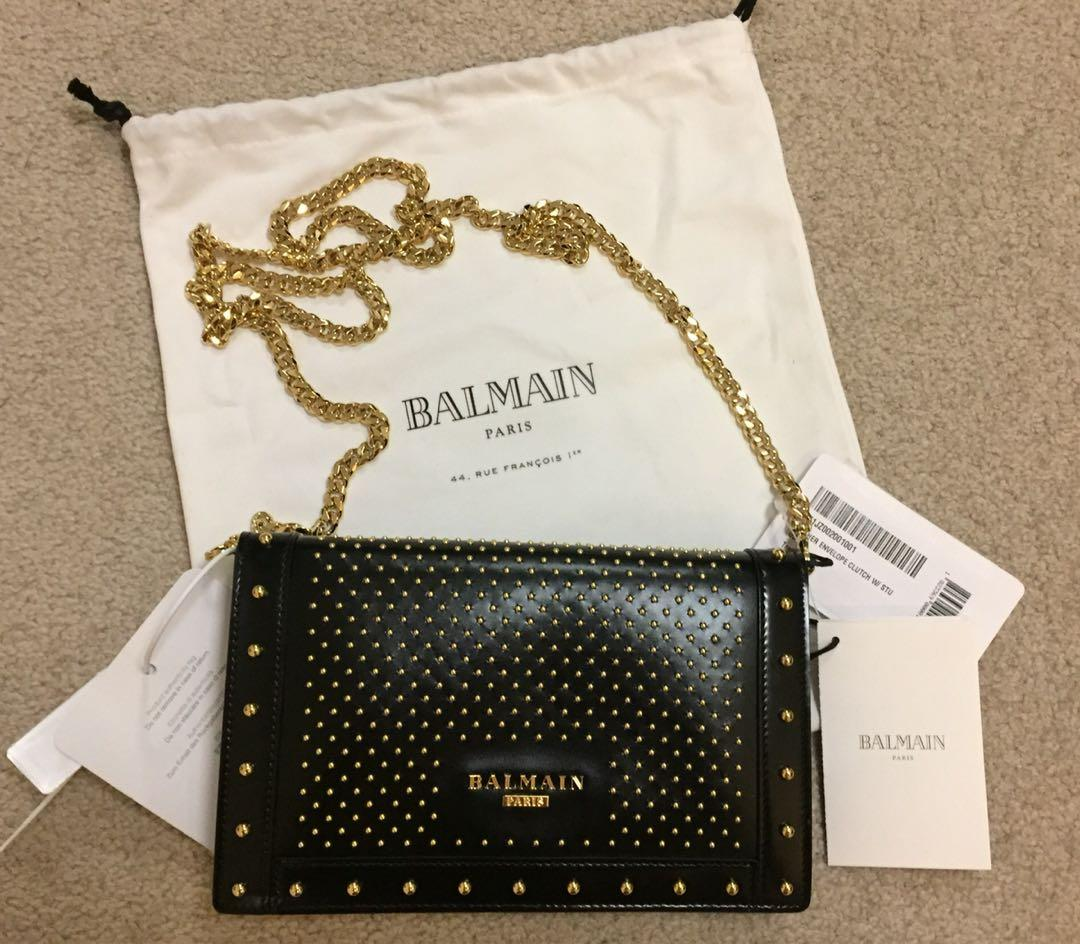 official sale lace up in best place for Balmain Paris leather envelope clutch bag with gold studs ...