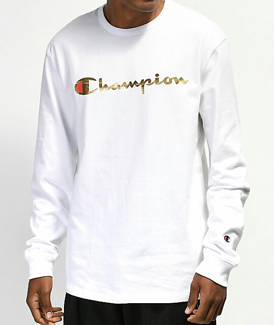 39c516746 Champion Heritage Gold & White Long Sleeve T-Shirt, Men's Fashion ...