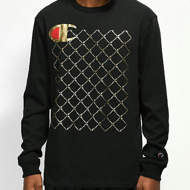 5d999ffbce Champion Heritage Quilt Black Long Sleeve T-Shirt