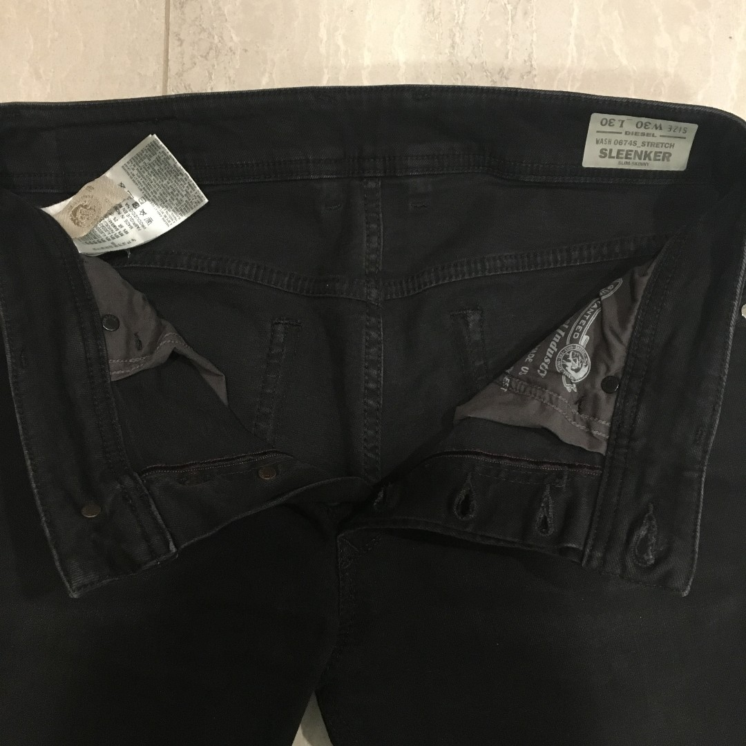 ac75adf0 Diesel Sleenker 0674S Stretch Jeans W30 Distressed Black, Men's Fashion,  Clothes, Bottoms on Carousell