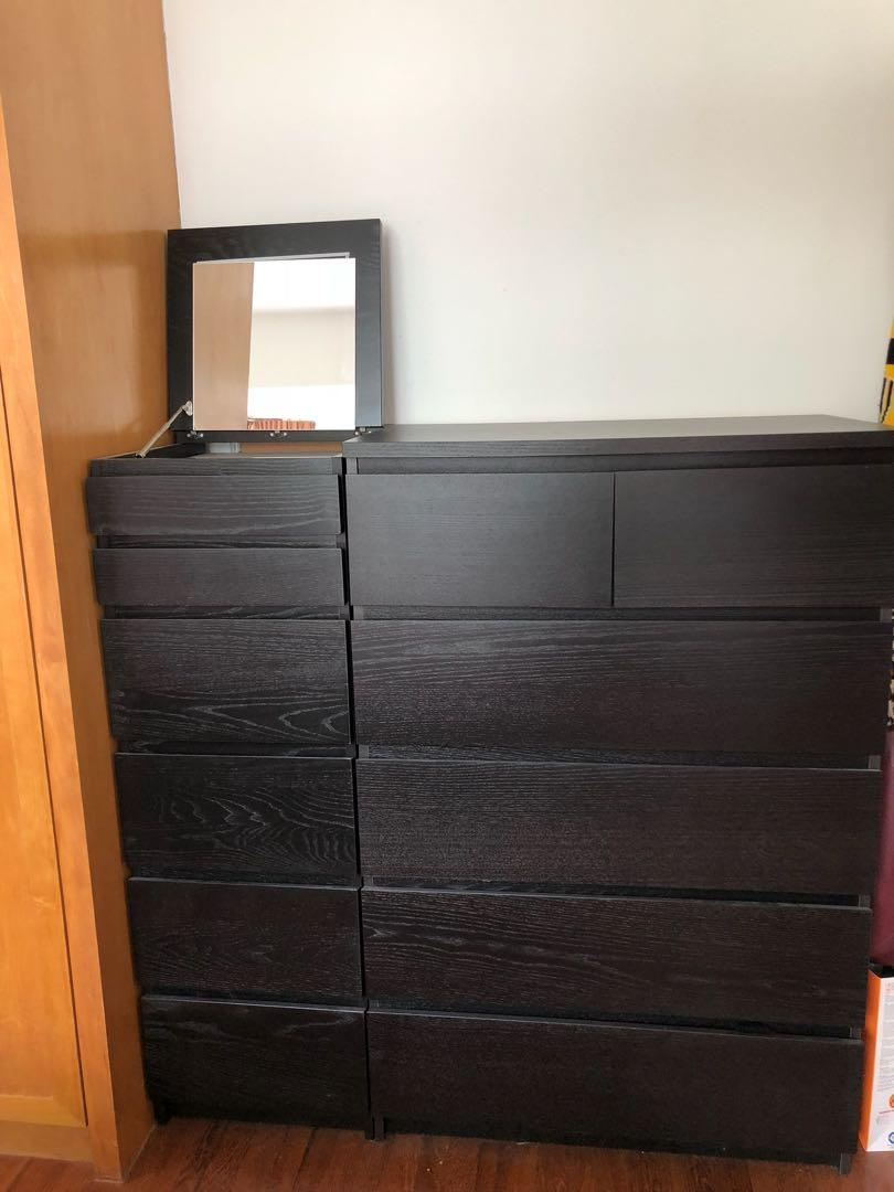Ikea Malm Drawers Set Including Dresser Mirror Furniture Shelves Drawers On Carousell