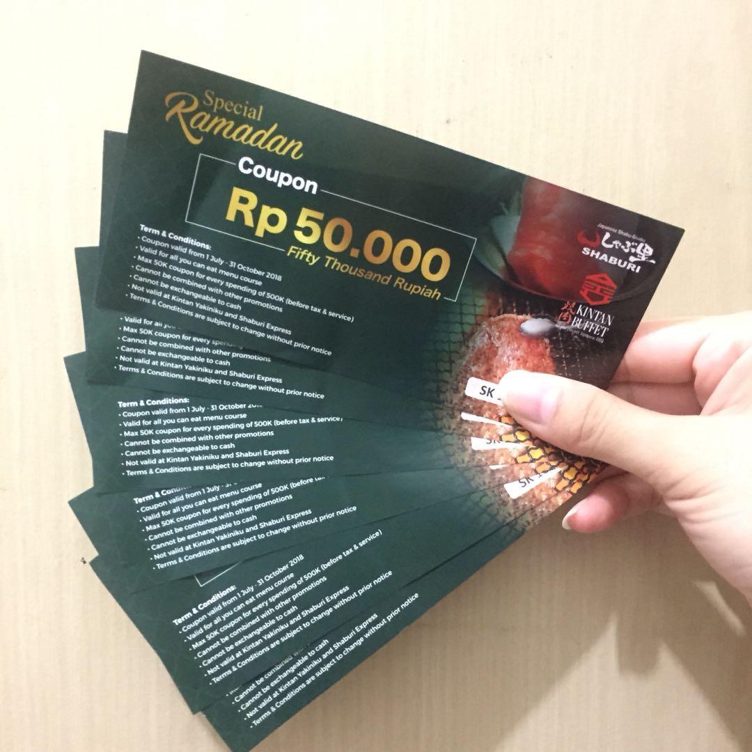 Kupon Potongan Diskon Shaburi Kintan Buffet Tickets Vouchers Voucher Vocer Indomaret Senilai 150rb Gift Cards On Carousell