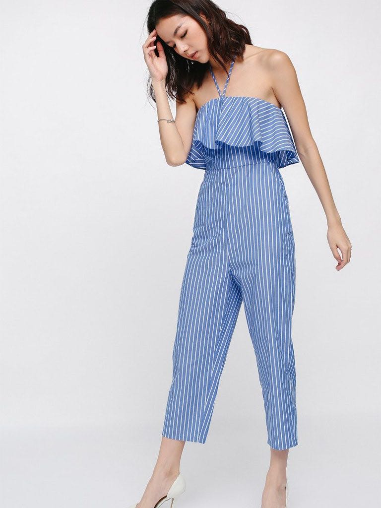 9aff0438ee0c Love Bonito Jenay Striped Tube Midi Jumpsuit