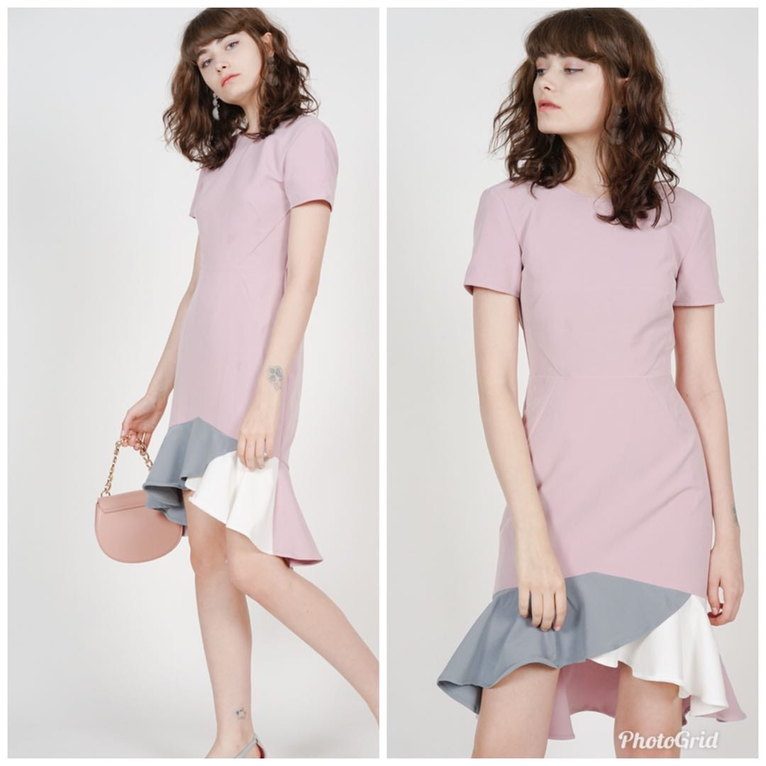 Mds Color Block Mermaid Dress In Mauve Womens Fashion Clothes