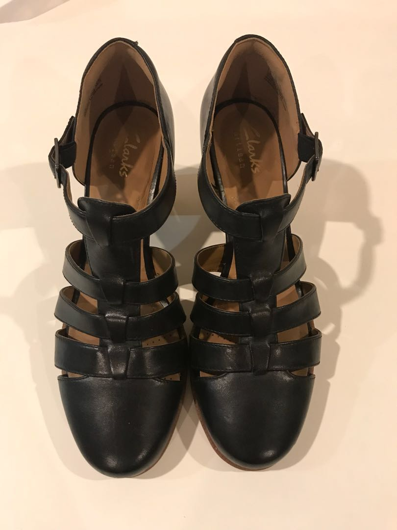 07564169 New Clarks Black Heels Casual Office Shoes