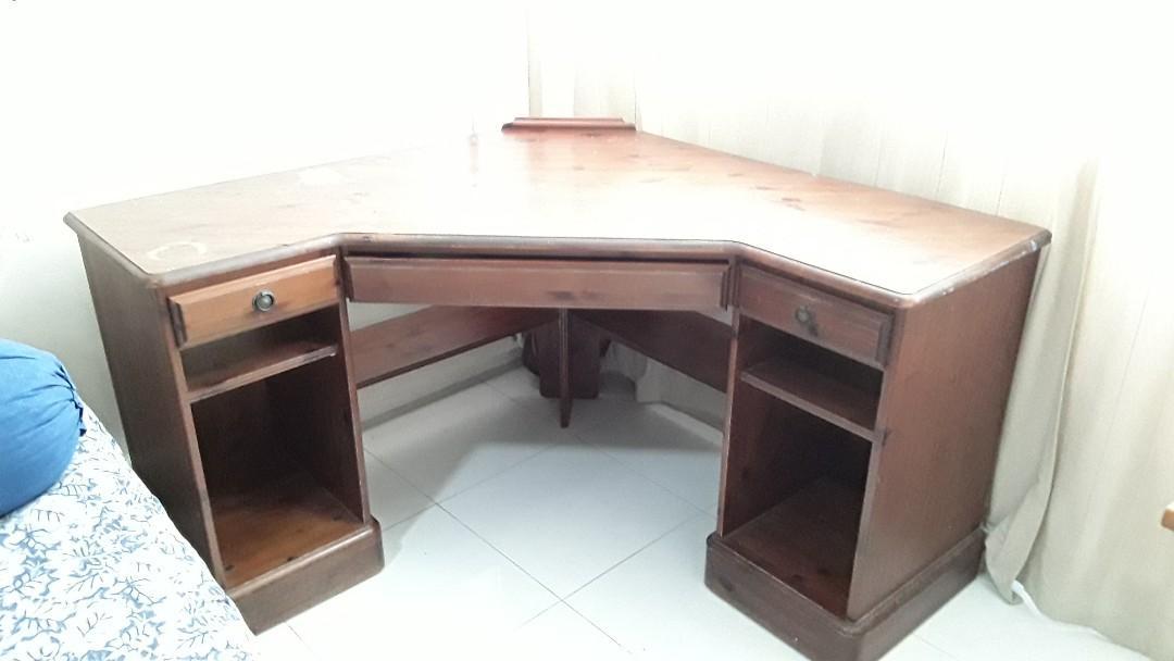 Free Uk Solid Pinewood Corner Desk