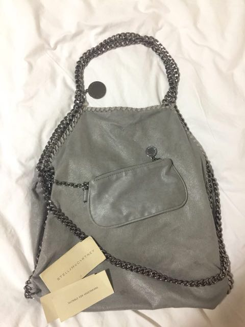 Stella McCartney Light Grey Falabella Shaggy Deer Foldover Tote ... 6c9367be9b6e5