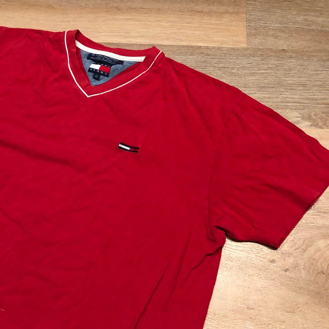 9d220da05 Vintage Tommy Hilfiger Red V neck Tshirt Size L, Men's Fashion ...