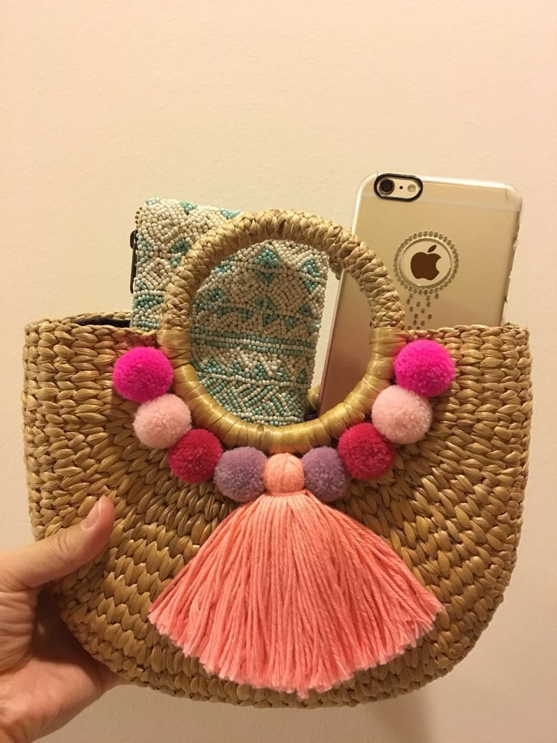 Woven Straw Bag With Pom Poms And Large Tassel Women S Fashion