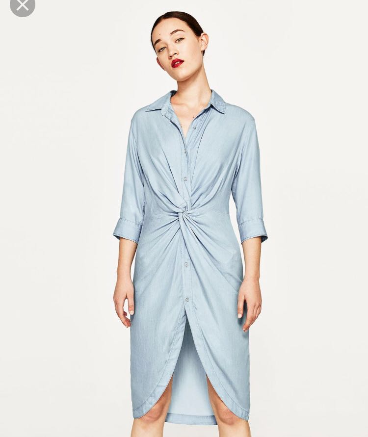 7b4d283067f Zara Denim Shirt Dress with Knot