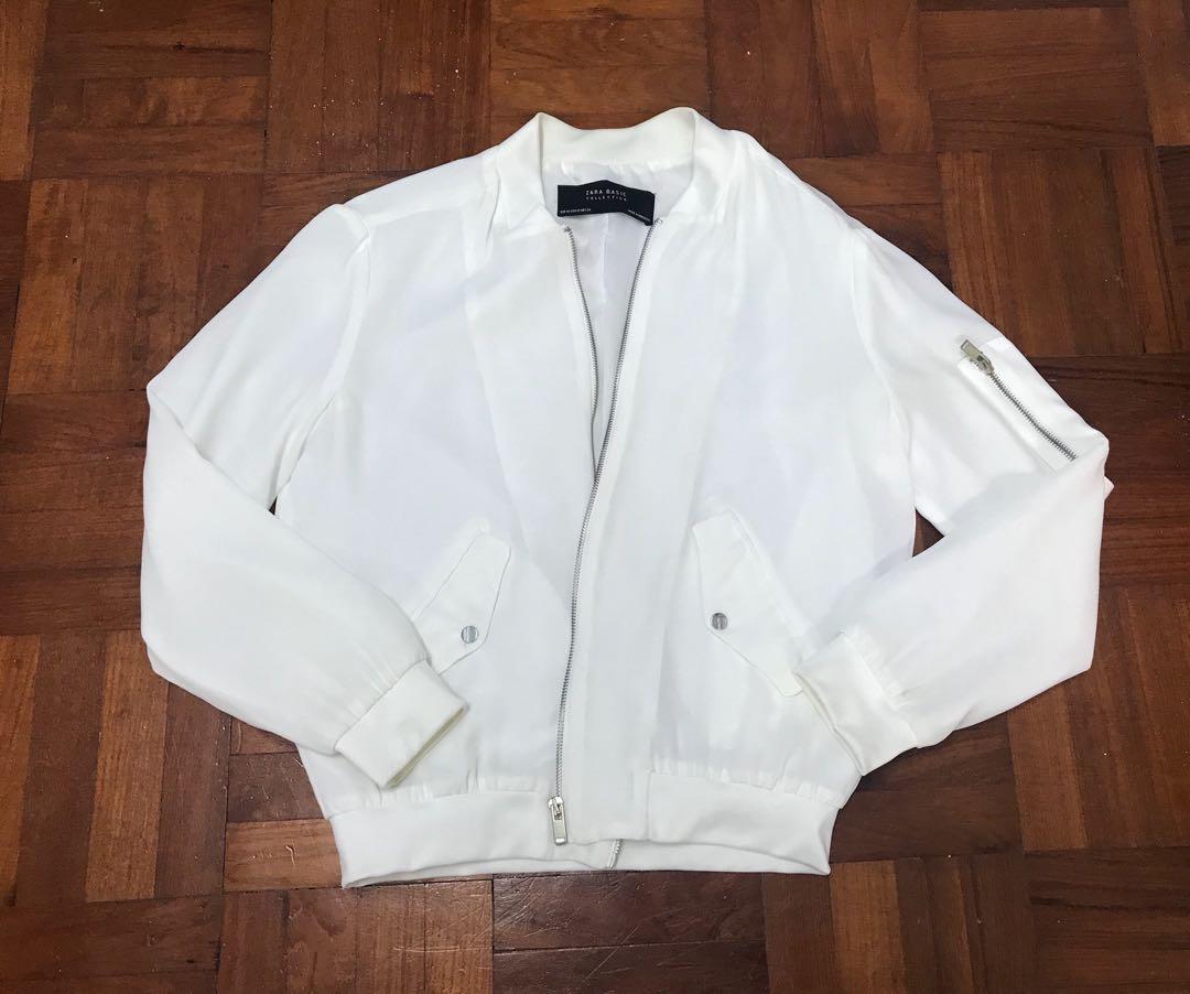 26305a8fd Zara White Bomber Jacket