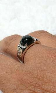 Discounted Item, Black Omphacite Jadeite (墨翠)on 925 Silver Ring