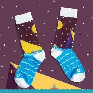 🚚 韓版長襪-燈塔與小帆船
