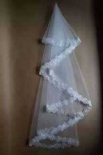 婚後物資 亮片蕾絲頭紗