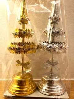 Gold and silver altar offering tree bucha 21cm
