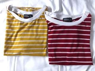 Striped Mustard Yellow and Red Tees