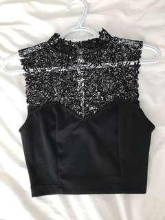 Urban Outfitters Black Lace Crop