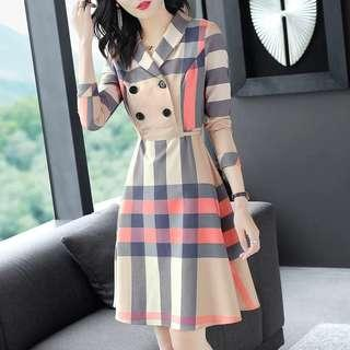 ⏳ (More cols) Bur Inspired Printed checks maid Shirt Dress