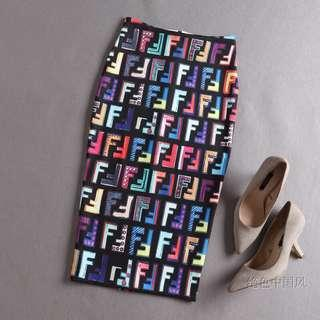 🔱 Designer inspired mongramic Printed pop colors pencil skirt
