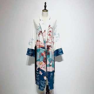 🔱 Printed Kimono Long Waist sash robe