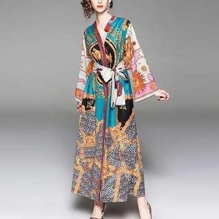 🔱⏳ etro inspired full gonzo printed waist tie Dress Robe