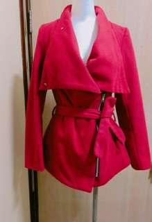 挺版大衣翻領個性綁腰外套(紅)免運