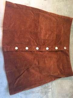 Brown Corduroy Skirt 👜🐌🍂