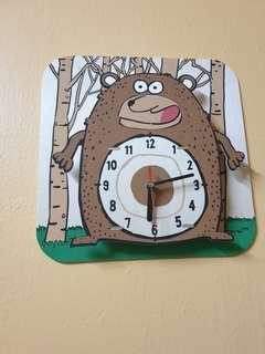 Wall Clock Bear Cartoon Wooden