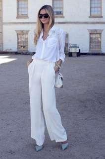 Zara white wide leg pants