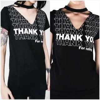 Disturbia Thank You Cut Out Top