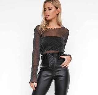 I AM GIA GLITTER MESH TOP