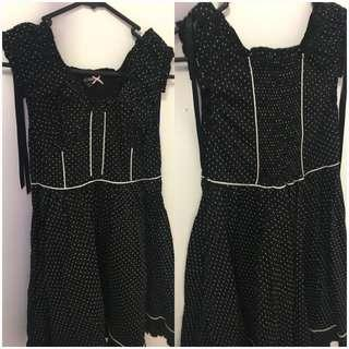Hell Bunny  Black and white polka dot dress - L