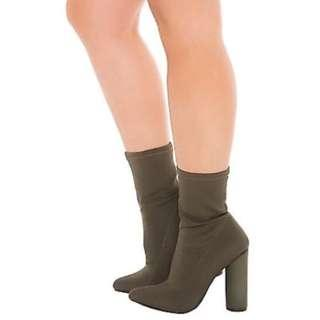 Olive green sock bootie size 7