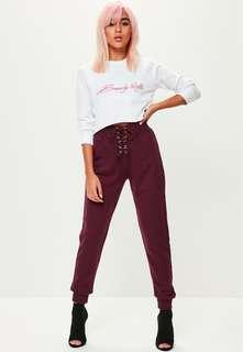 MISSGUIDED lace up joggers