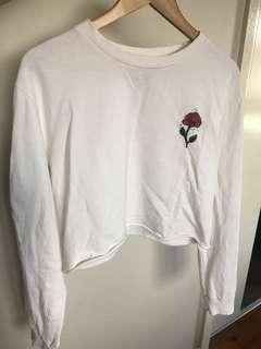 Cropped white long sleeves