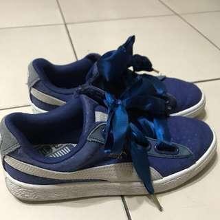 Puma BasketHeart 深藍緞帶鞋