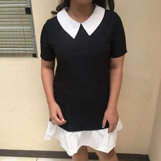 dress hitam-putih kerah