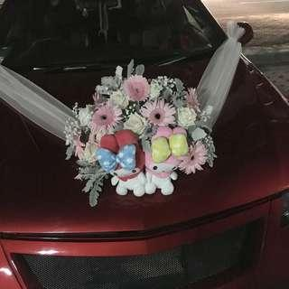 Bridal Car Decoration with Gerberas and Roses with Bear