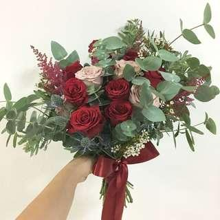 Premium Kenya Roses with Eucalyptus Leaves and Mix Fillers / Bridal Bouquet in Red and Dusty Pink Theme