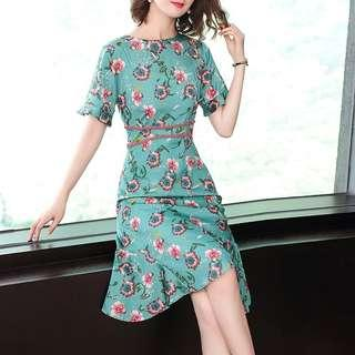 BeAded trim detail floraline Printed Dress