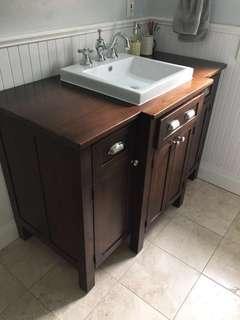 Custom Built Wood Bathroom Vanity