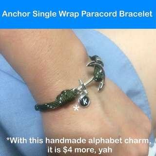 Paracord Anchor / Fish hook Single Wrap Bracelet, free size (Paracord550 adjustable unisex bracelet; still can make to your wrist size for good fit) [uncle anthony uac]