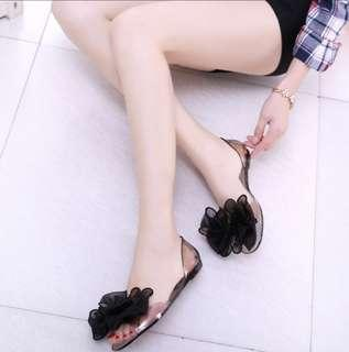 Rose Transparent Jelly Flat Shoes (Black/39)