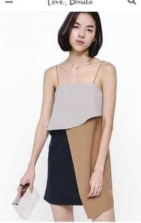 Love Bonito Lanse Layered Colour Block Dress in Brown Size S