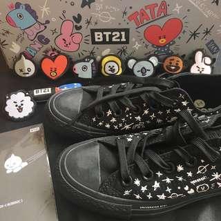 [WTS] BT21 Black Low Cut Converse Size 225