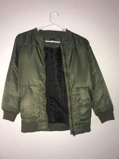 Green puffer bomber jacket